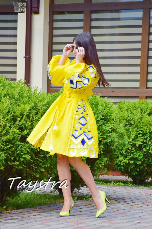 Dress Embroidered Vyshyvanka Dress Embroidery Linen Dress Yellow Short