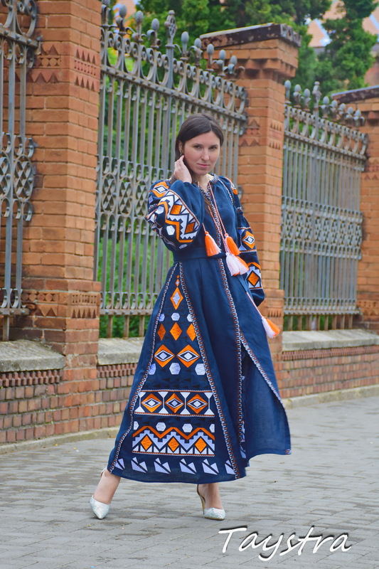 Dress Boho Embroidered Vyshyvanka Dress Embroidery Linen Maxi Dress