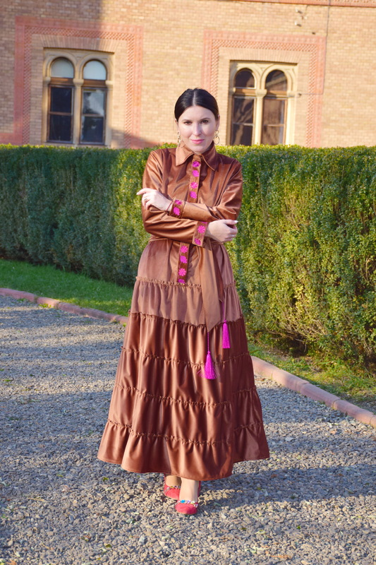 Stylish Velvet Dress Design, Exclusive Embroidery Dress Vyshyvanka Ukrainian