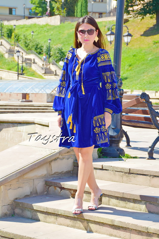 Short Blue Velvet Boho Dress Golden Embroidery, Short Blue Dress Bohemian, Vyshyvanka Dress Ukrainian embroidery