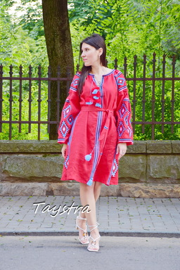 Red Midi Dress Embroidered, Boho Chic Red Linen Dress Vyshyvanka Ukrainian embroidery