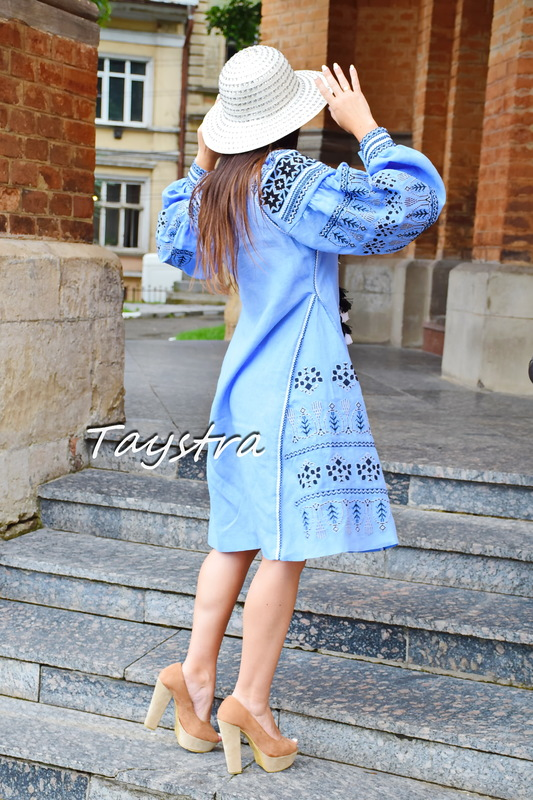 Dress Embroidered Bohemian Vyshyvanka Dress Multi Color Embroidery Linen Ukrainian embroidery Dress