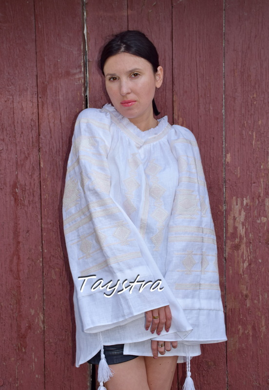White Blouse Vyshyvanka Embroidered clothes Vyshyvanka  Multi Color Embroidery Linen Ukrainian Embroidered Blouse