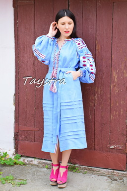 Embroidered Blue Dress style boho chic Vyshyvanka Dress Linen Ukrainian embroidery
