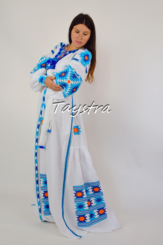 Maxi Dress Embroidered Vyshyvanka Dress Multi Color Embroidery Linen, Ukrainian embroidery, White Maxi Dress Boho Chic