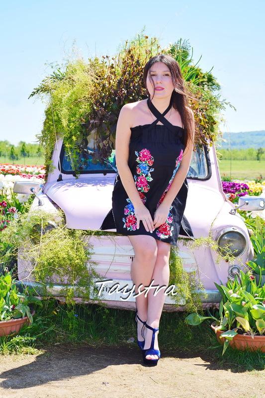 Short Black Dress Vyshyvanka Ukrainian embroidery, Boho Dress Embroidered