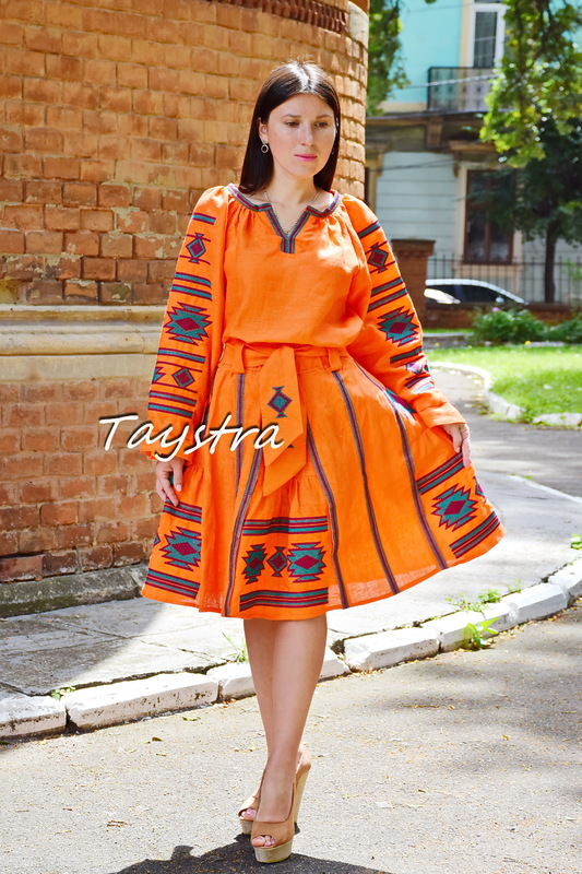 Linen Women's Suit Orange skirt and blouse with embroidery, boho ethno style,Vyshyvanka Multi Color Embroidery Linen, Ukrainian embroidery