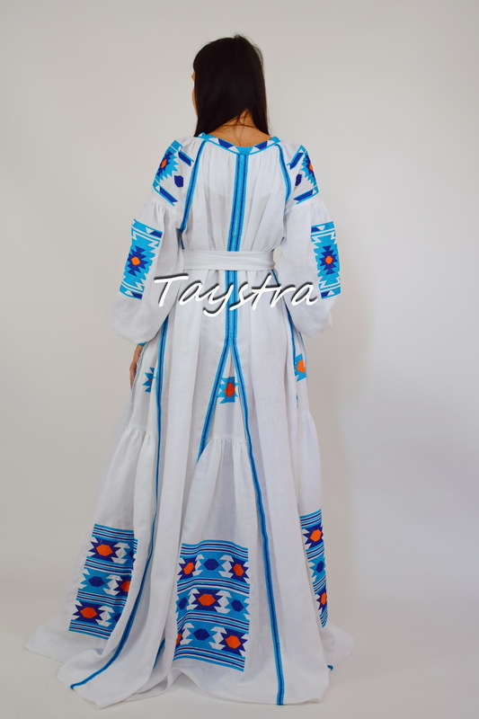 Maxi Dress Embroidered Vyshyvanka Dress Multi Color Embroidery Linen, Ukrainian embroidery, White Maxi Dress Boho Chic