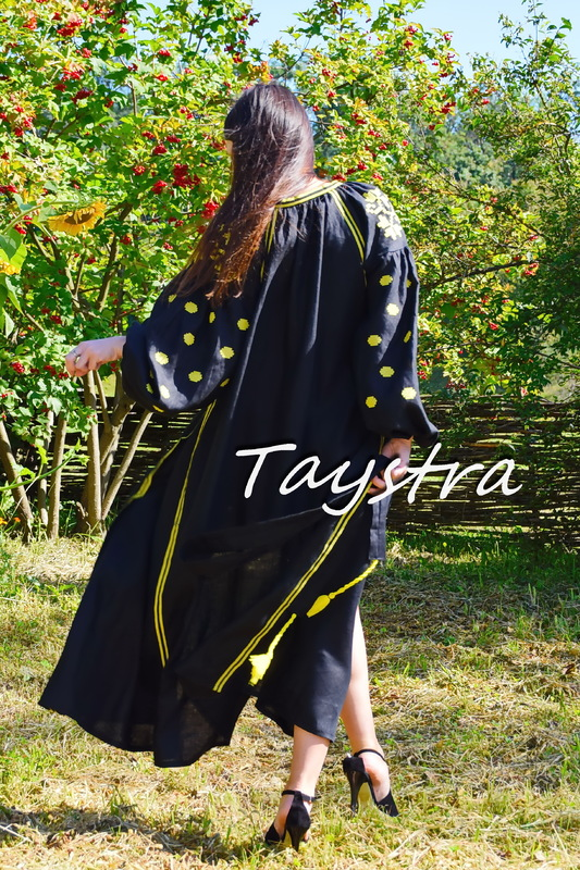 Vyshyvanka Ukrainian Dress ethno style boho chic, Embroidered dress, Multi Color Embroidery Linen