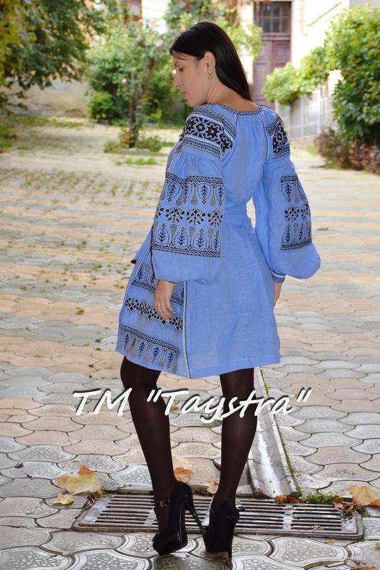 Boho Dress Embroidered, ethno, style boho chic, Bohemian, Vyshyvanka Dress Multi Color Embroidery Linen, Ukrainian embroidery, Blue Dress