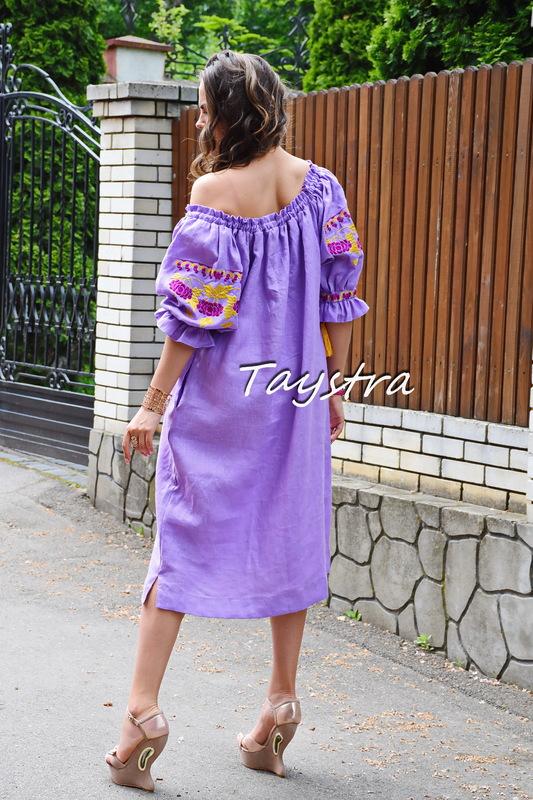 Vyshyvanka Dress Embroidery Linen, Ukrainian embroidery Magenta Dress Dress Embroidery Linen Ukrainian embroidery