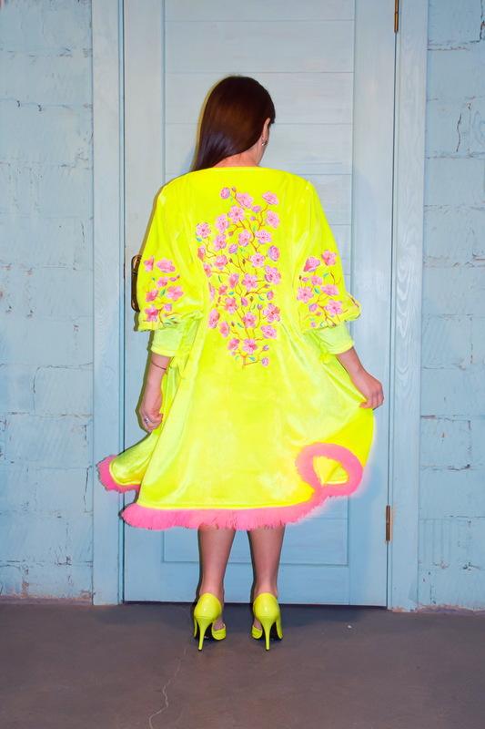 Velvet Dress Bright Dress Vyshyvanka Green Yellow Neon Dress