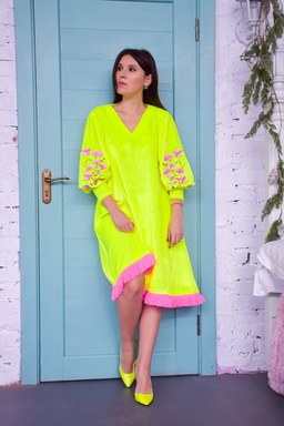 Velvet Dress Bright Dress Vyshyvanka Green Yellow Neon Dress