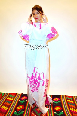 Dress Ukrainian embroidery ethno style boho chic, Embroidered dress, Multi Color Embroidery Linen