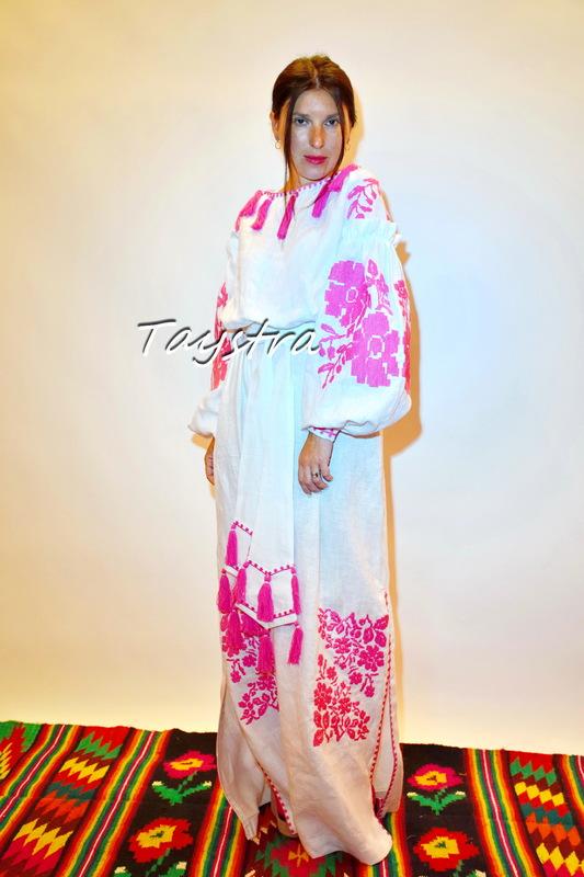 Dress Ukrainian embroidery ethno style boho chic, Embroidered dress, Multi Color Embroidery Linen