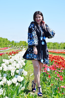 Black Dress Embroidered Vyshyvanka Short Dress Embroidery Linen Dress Ukrainian
