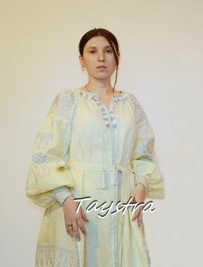 Embroidered Short Dress, Beige Dress ethno style boho chic, Bohemian, Vyshyvanka Dress Multi Color Embroidery Linen, Dress Ukrainian embroidery