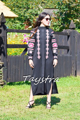 Embroidered Dress-Cloak Ukrainian embroidery Black Dress Cardigan
