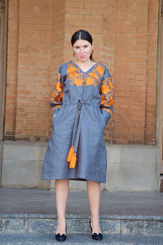 Stylish Designer Gray Dress Embroidered Vyshyvanka Dress