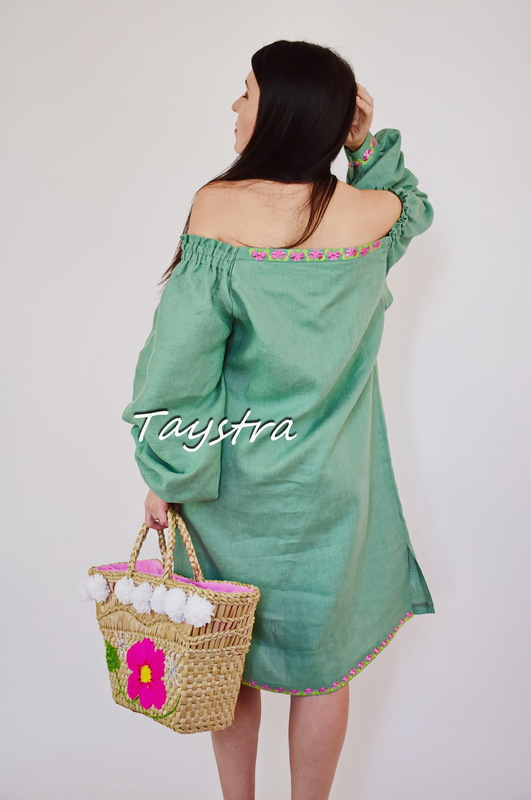 Vyshyvanka Embroidered Short Green Dress Tunic Linen, Mini Dress Ukrainian embroidered, Boho style ethno