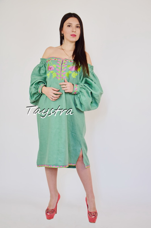 Vyshyvanka Embroidered Short Green Dress Tunic Linen, Mini Dress Ukrainian embroidered, Boho style ethno