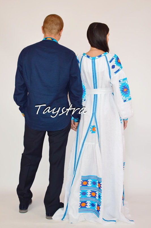 Two-piece clothes embroidered linen for two, for the wedding, embroidered for family, Vyshyvanka Multi Color Embroidery Linen, Ukrainian embroidery