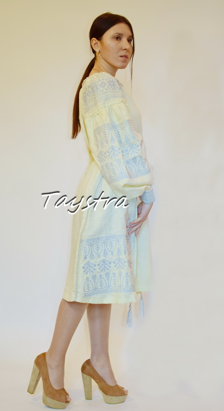 Embroidered Short Dress, Beige Dress ethno style boho chic, Bohemian, Vyshyvanka Dress Multi Color Embroidery Linen, Dress Ukrainian embroidery