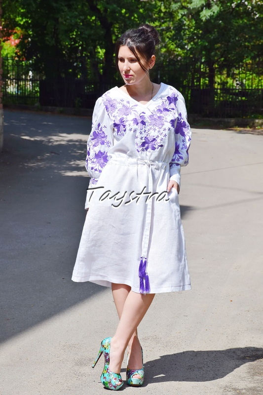 Embroidered Dress White Dress linen ethno style boho chic, Bohemian, Vyshyvanka Dress Multi Color Embroidery, Ukrainian embroidery