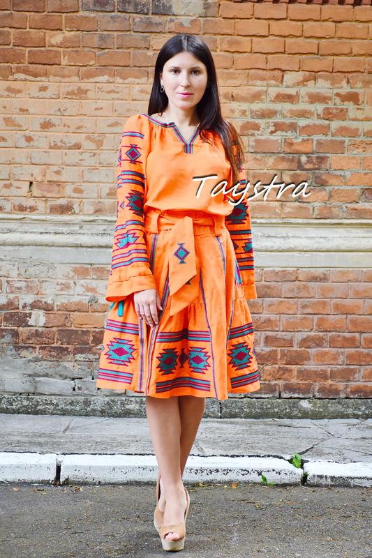 Orange Skirt with embroidery, four wedges, boho ethno style, skirt with belt