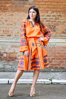 Orange Skirt with embroidery, four wedges, boho ethno style, skirt with belt