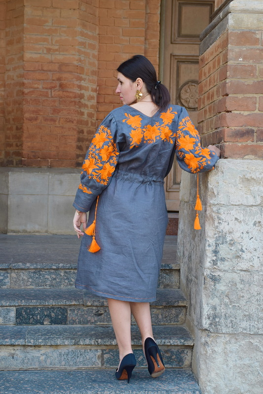 Stylish Designer Gray Dress Embroidered Vyshyvanka Dress