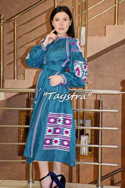 Bohemian dress embroidered ethno style boho chic, Vyshyvanka Dress Multi Color Embroidery Linen, Ukrainian embroidery