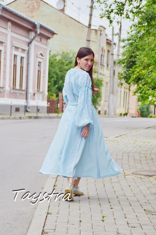 Blue Dress Embroidered Vyshyvanka Dress Embroidered Linen Mini Dress