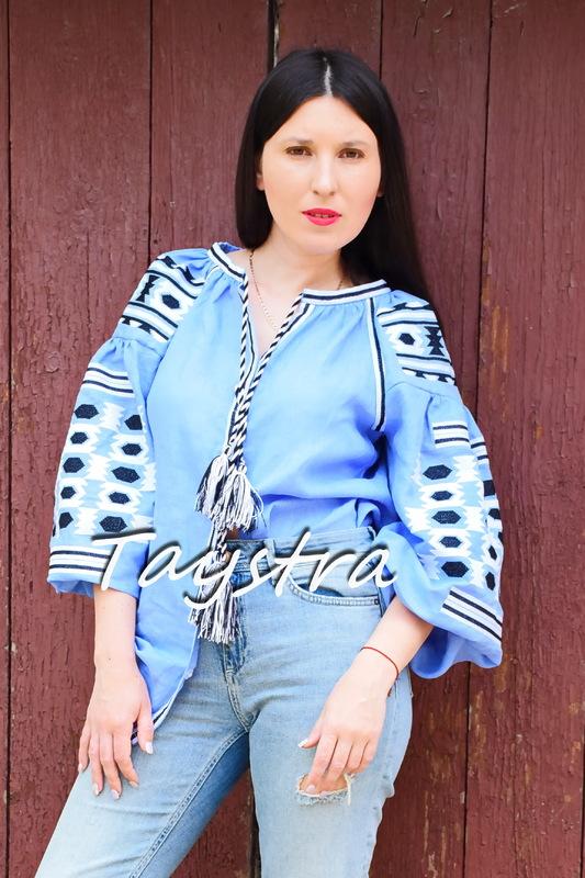 Blouse Vyshyvanka Embroidered, Blouse Blue Linen, ethno style boho chic, Bohemian Vyshyvanka Ukrainian embroidery