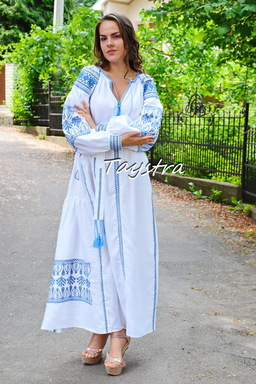 Embroidered Dress Boho Dress Linen Maxi Dress ethno style boho chic, Bohemian Vyshyvanka Dress Embroidery Linen, Ukrainian embroidery