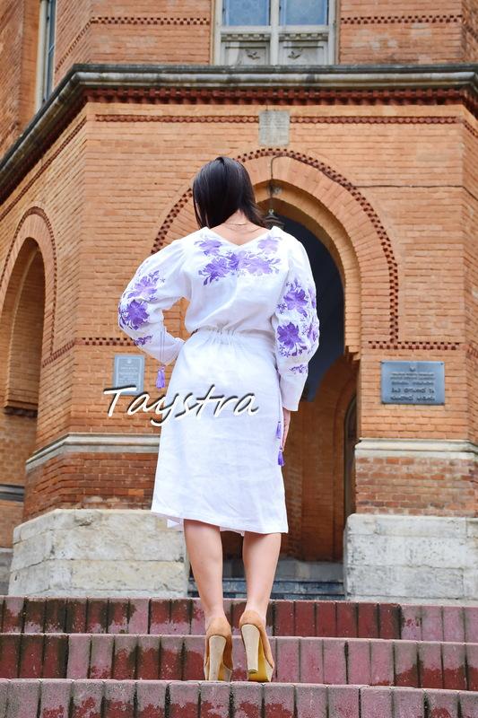 Embroidered Dress linen ethno style boho chic, Bohemian Vyshyvanka Dress Color Embroidery, Ukrainian embroidery