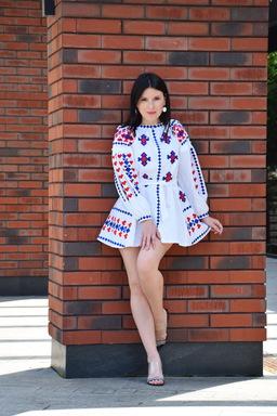 White Dress, White Linen Mini Dress Vyshyvanka Ukrainian Linen Embroidered