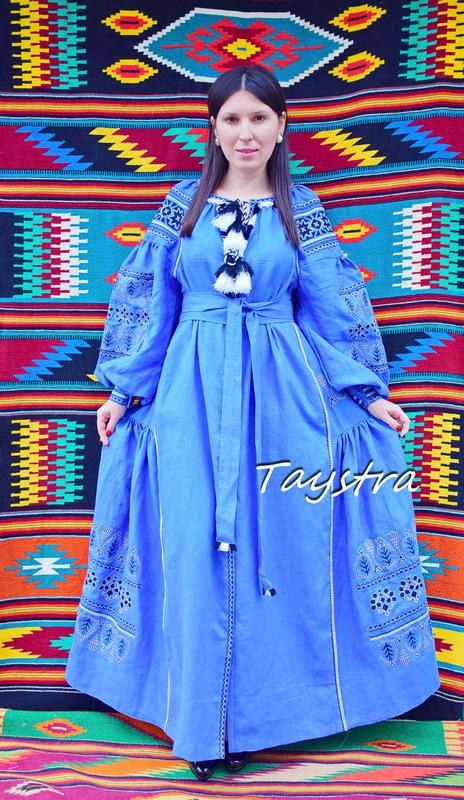 Embroidered Dress Vyshyvanka Blue Dress Multi Color Embroidery Linen Ukrainian Dress