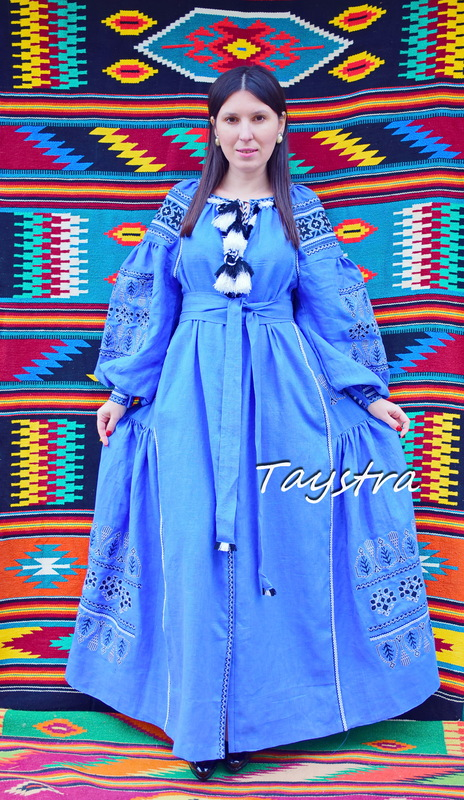 Embroidered Dress Vyshyvanka Blue Dress Multi Color Embroidery Linen Ukrainian Dress