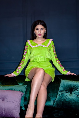 Velvet Dress Bright Green Neon Dress, Fashionable Dress with a belt, dress with a collar