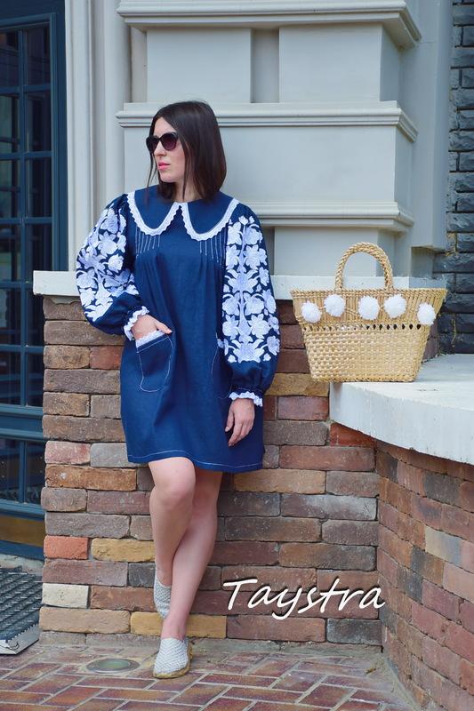 Dress Embroidered Vyshyvanka Dress Dark Blue Embroidery Linen Dress