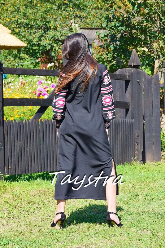 Embroidered Dress-Cloak Ukrainian embroidery Black Dress Cardigan