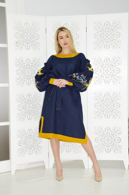 Blue Dress Embroidered Vyshyvanka Dress Embroidery Linen Maxi Dress