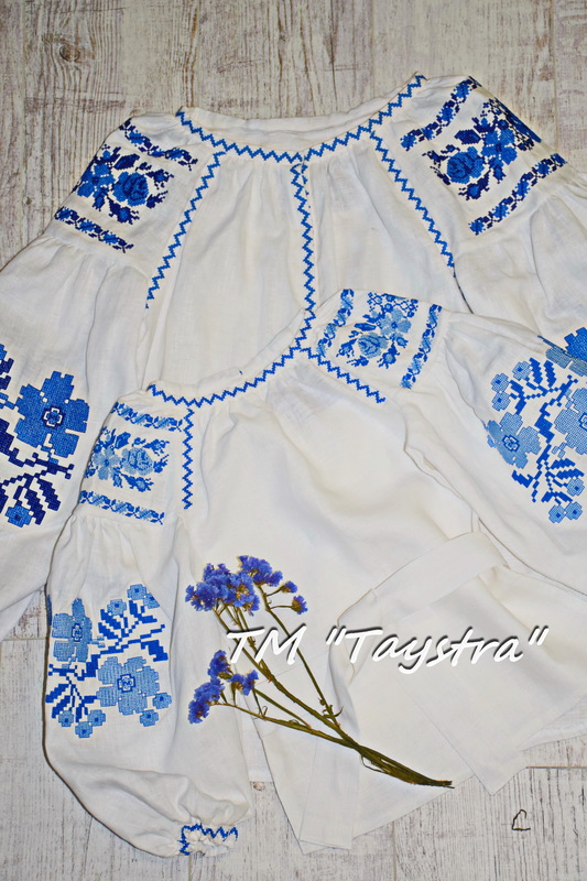 Mums and daughters Embroidered Blouse, Embroidered clothes for two, mother and daughter, embroidered for family, embroidered linen, ethno, style boho chic, Bohemian, Vyshyvanka  Multi Color Embroidery Linen, Ukrainian embroidery, Two-piece clothes