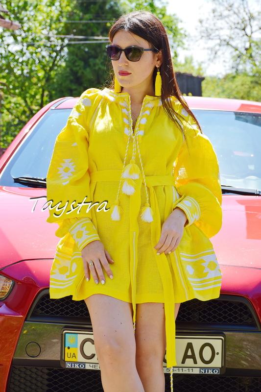 Vyshyvanka Dress Multi Color Embroidery Linen, Yellow Dress Ukrainian embroidery, Mini Dress Embroidered