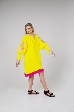 Neon Dress, Embroidery Dress Evening, Stylish Dress Bright Yellow