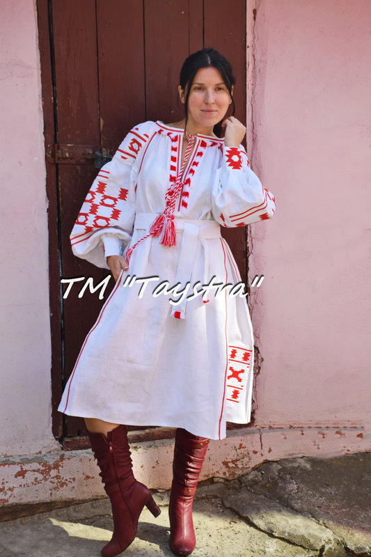 Embroidered Boho Dress, White linen, ethno, style boho chic, Bohemian Vyshyvanka Dress Multi Color Embroidery Linen, Ukrainian embroidery