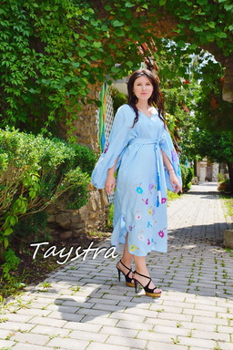 Dress Embroidered Vyshyvanka Blue Maxi Dress Linen, Dress Ukrainian