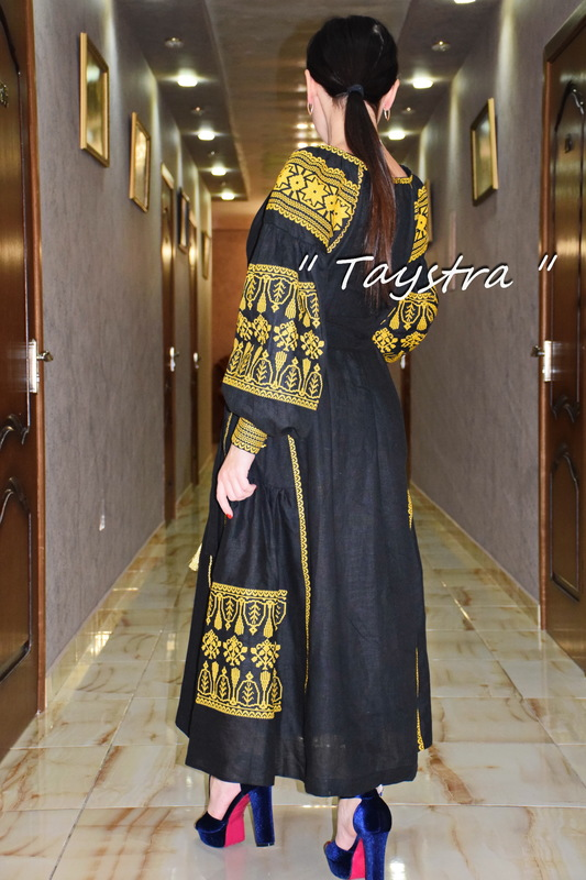 Gold Embroidery Dress boho embroidered linen, Black Dress, style boho chic, Bohemian Vyshyvanka Dress Multi Color Embroidery Linen, Ukrainian embroidery