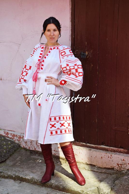 Embroidered Boho Dress, White linen, ethno, style boho chic, Bohemian Vyshyvanka Dress Multi Color Embroidery Linen, Ukrainian embroidery